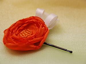 """Заколка для волос """"Оранжевое настроение"""". Ярмарка Мастеров - ручная работа, handmade."""