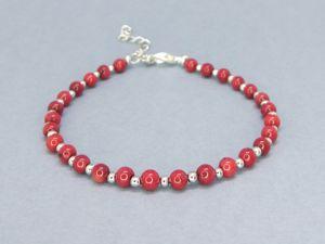 Серьги и браслеты с красным кораллом. Ярмарка Мастеров - ручная работа, handmade.