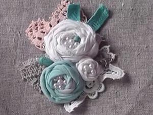 Создаем текстильную брошь в стиле бохо Персик с мятой. Ярмарка Мастеров - ручная работа, handmade.