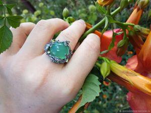 Скидка 20% на кольцо с хризопразом!. Ярмарка Мастеров - ручная работа, handmade.