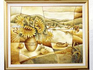Янтарная картина  «Подсолнухи». Ярмарка Мастеров - ручная работа, handmade.