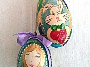 """Роспись пасхального яйца-подвески """"Ангелочек"""". Ярмарка Мастеров - ручная работа, handmade."""