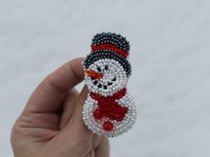 Мастерим брошь  «Снеговик». Ярмарка Мастеров - ручная работа, handmade.