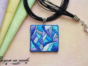Making Necklace with Embroidered Stitch Pendant. Livemaster - handmade