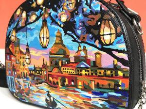 Видео сумочки с ручной росписью Венеция. Ярмарка Мастеров - ручная работа, handmade.
