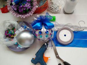 Видео мастер-класс по декору новогодней игрушки: Я шарик сотворила из того, что было!. Ярмарка Мастеров - ручная работа, handmade.