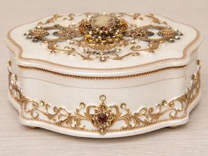 Шкатулка для украшений  «Камея в золотом». Ярмарка Мастеров - ручная работа, handmade.