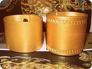 """""""Золотой"""" браслет из натуральной кожи своими руками. Ярмарка Мастеров - ручная работа, handmade."""