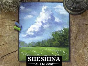 Видео-урок: рисуем облака над полем сухой пастелью. Ярмарка Мастеров - ручная работа, handmade.