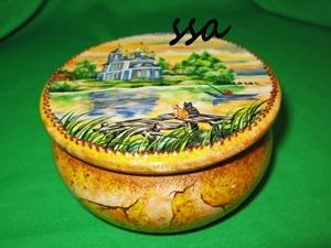 Расписываем шкатулочку с пейзажем и имитацией камня. Ярмарка Мастеров - ручная работа, handmade.