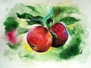 """""""Яблочки"""" в технике сухая пастель-акварель. Ярмарка Мастеров - ручная работа, handmade."""