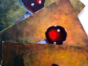 Готов триптих с мухоморами. Ярмарка Мастеров - ручная работа, handmade.
