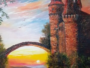 Картина маслом  «Замок на закате» . Ярмарка Мастеров - ручная работа, handmade.