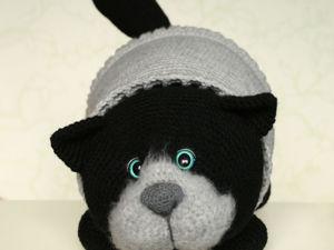 Кот Уголёк в сером свитере. Ярмарка Мастеров - ручная работа, handmade.