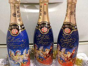 Декору новогодней бутылки с использованием распечатки 3-in-1. Ярмарка Мастеров - ручная работа, handmade.