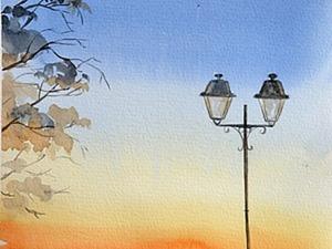 Видео мастер-класс: пишем картину «Фонарь на рассвете». Ярмарка Мастеров - ручная работа, handmade.