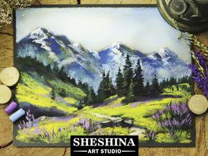Рисуем горный пейзаж сухой пастелью на наждачной бумаге. Ярмарка Мастеров - ручная работа, handmade.