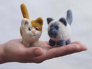 Неугомонные коты, или Валяем симпатичного маленького котика и его друзей. Ярмарка Мастеров - ручная работа, handmade.