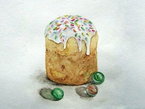 Рисуем пасхальную открытку акварелью «Кулич-в-натуре». Ярмарка Мастеров - ручная работа, handmade.