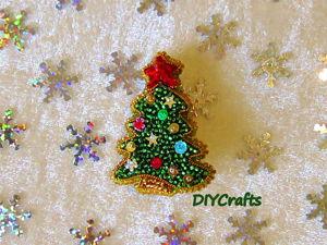 Создаем брошь «Новогодняя ёлка» из бисера. Ярмарка Мастеров - ручная работа, handmade.