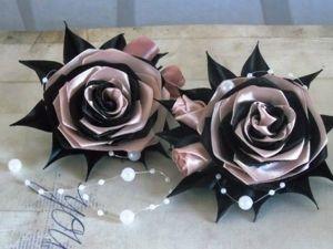 Создаем резинки для волос из атласных лент «Розы». Ярмарка Мастеров - ручная работа, handmade.