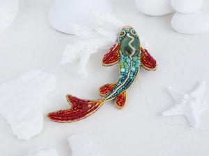 Видео брошь Карп кои японская золотая рыбка. Ярмарка Мастеров - ручная работа, handmade.