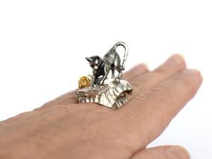 Кот ученый — новая миниатюра на пальце. Ярмарка Мастеров - ручная работа, handmade.