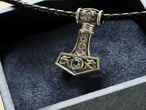 Кулон Молот Тора с  камнем. Мьельнир. Ярмарка Мастеров - ручная работа, handmade.