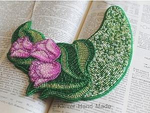 Создаем колье «Тюльпаны в саду» в технике вышивки бисером. Ярмарка Мастеров - ручная работа, handmade.