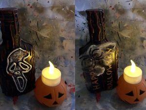 Декор бутылки на Хеллоуин. Ярмарка Мастеров - ручная работа, handmade.