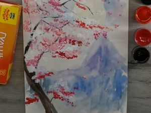 Рисуем сакуру ватными палочками. Ярмарка Мастеров - ручная работа, handmade.