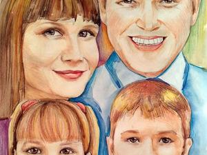 Семейный портрет (4 человека) — процесс в фото. Ярмарка Мастеров - ручная работа, handmade.