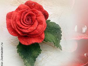 Роза из шерсти цельноваляная. Ярмарка Мастеров - ручная работа, handmade.
