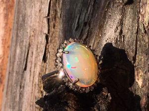 Кольцо с крупным огненным опалом  бриллиантами. Ярмарка Мастеров - ручная работа, handmade.