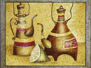 Янтарная картина  «Чайники и лайм». Ярмарка Мастеров - ручная работа, handmade.