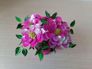 Делаем георгины из пайеток. DIY flowers. Ярмарка Мастеров - ручная работа, handmade.