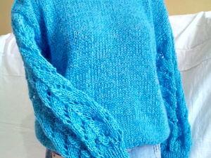 Новинка! Бирюзовый свитер из хлопка с ажурными рукавами. Ярмарка Мастеров - ручная работа, handmade.