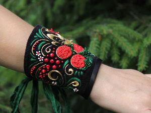 Создаем текстильный браслет с вышивкой по мотиву хохломской росписи. Ярмарка Мастеров - ручная работа, handmade.