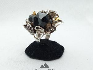 Кольцо серебряное с морионом  « Каменный цветок». Ярмарка Мастеров - ручная работа, handmade.