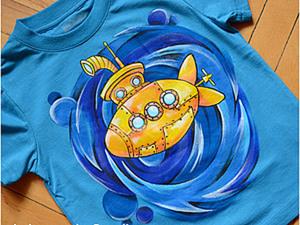 """Роспись футболки """"Желтая субмарина"""". Ярмарка Мастеров - ручная работа, handmade."""