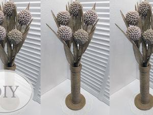 Делаем цветы из ватных палочек и мешковины. Ярмарка Мастеров - ручная работа, handmade.