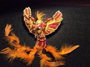 Мастер-класс: как сделать брошь «Жар-птица» из бисера, бусин и перьев. Ярмарка Мастеров - ручная работа, handmade.