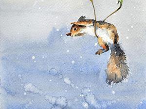 Акварельная картина «Белочка-парашютист». Speed painting. Ярмарка Мастеров - ручная работа, handmade.