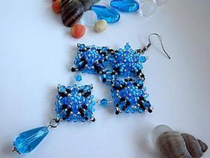 Плетем серьги из бисера «Морское настроение». Ярмарка Мастеров - ручная работа, handmade.