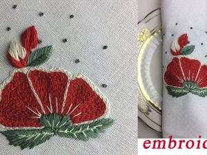 Красивая вышивка на льняной салфетке. Ярмарка Мастеров - ручная работа, handmade.