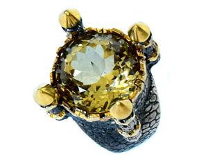 Солнце в колодце — крупное кольцо с натуральным цитрином ручной огранки 17.7 карат. Ярмарка Мастеров - ручная работа, handmade.