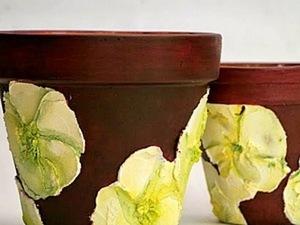 Кашпо. Декорирование акриловой рельефной пастой.. Ярмарка Мастеров - ручная работа, handmade.