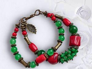 Мастерим браслет из бусин коралла и авантюрина двухрядный. Ярмарка Мастеров - ручная работа, handmade.