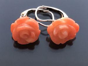 Антикварные серьги с резными кораллами. Ярмарка Мастеров - ручная работа, handmade.