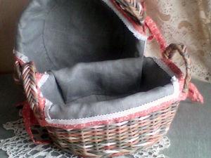 Как сшить чехол для овальной или круглой корзинки. Ярмарка Мастеров - ручная работа, handmade.